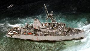 Grounded: USS Guardian at the Tubbataha Reefs.